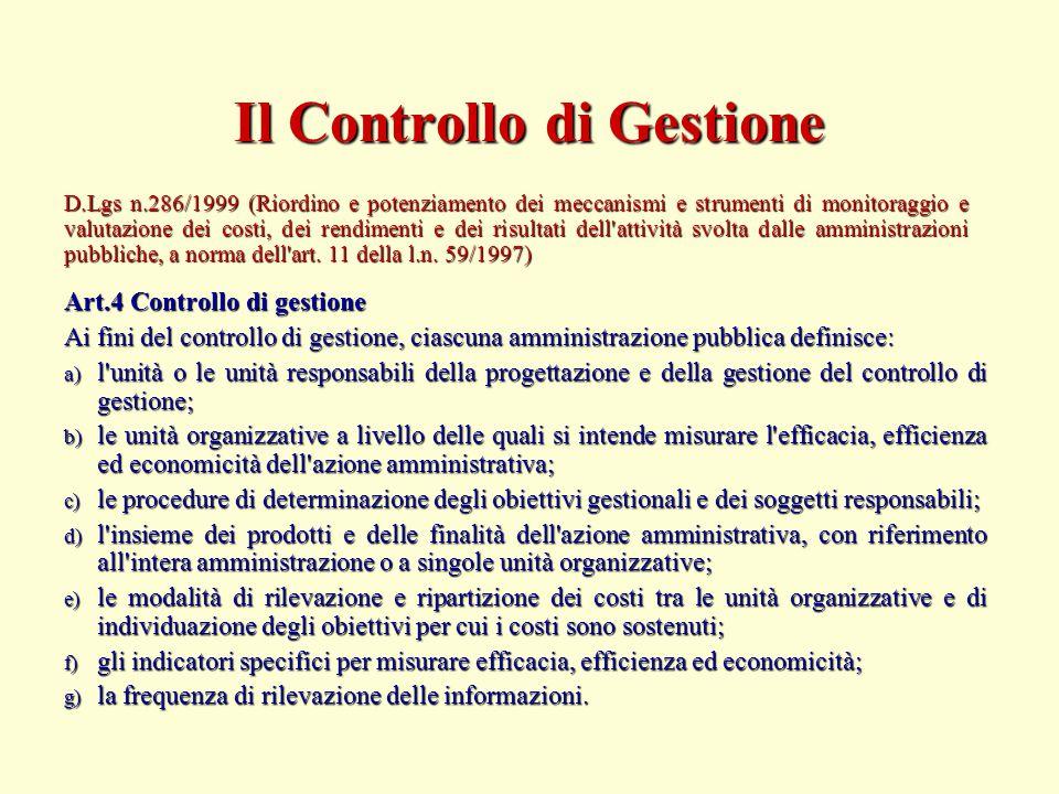 Art.4 Controllo di gestione Ai fini del controllo di gestione, ciascuna amministrazione pubblica definisce: a) l'unità o le unità responsabili della p