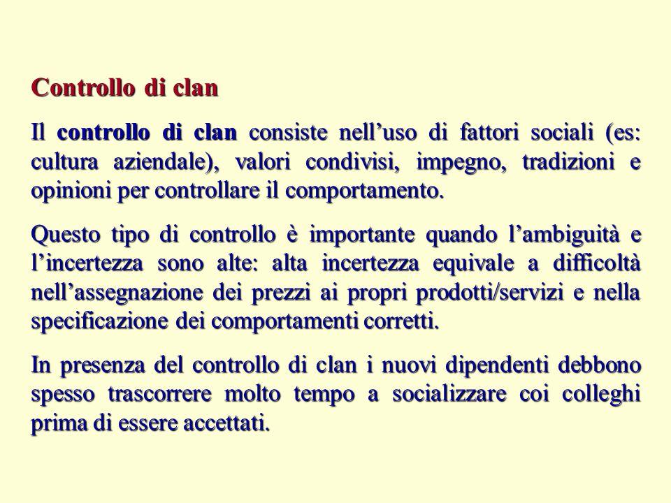 Controllo di clan Il controllo di clan consiste nell'uso di fattori sociali (es: cultura aziendale), valori condivisi, impegno, tradizioni e opinioni