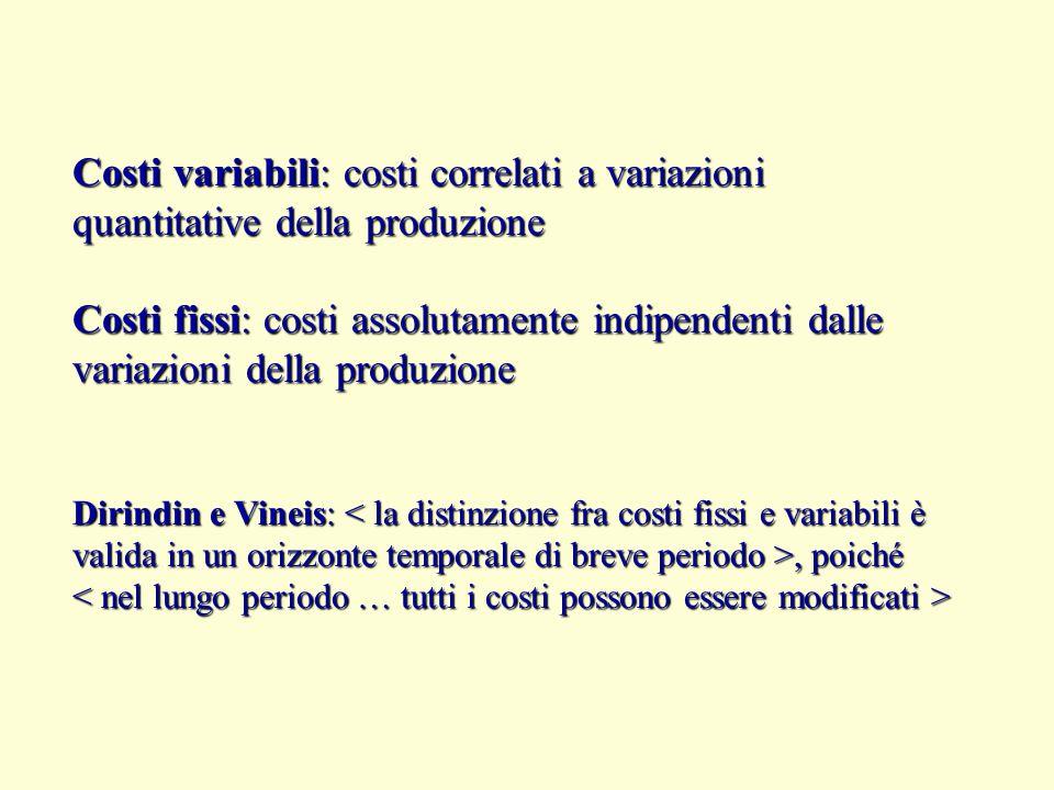 Costi variabili: costi correlati a variazioni quantitative della produzione Costi fissi: costi assolutamente indipendenti dalle variazioni della produ