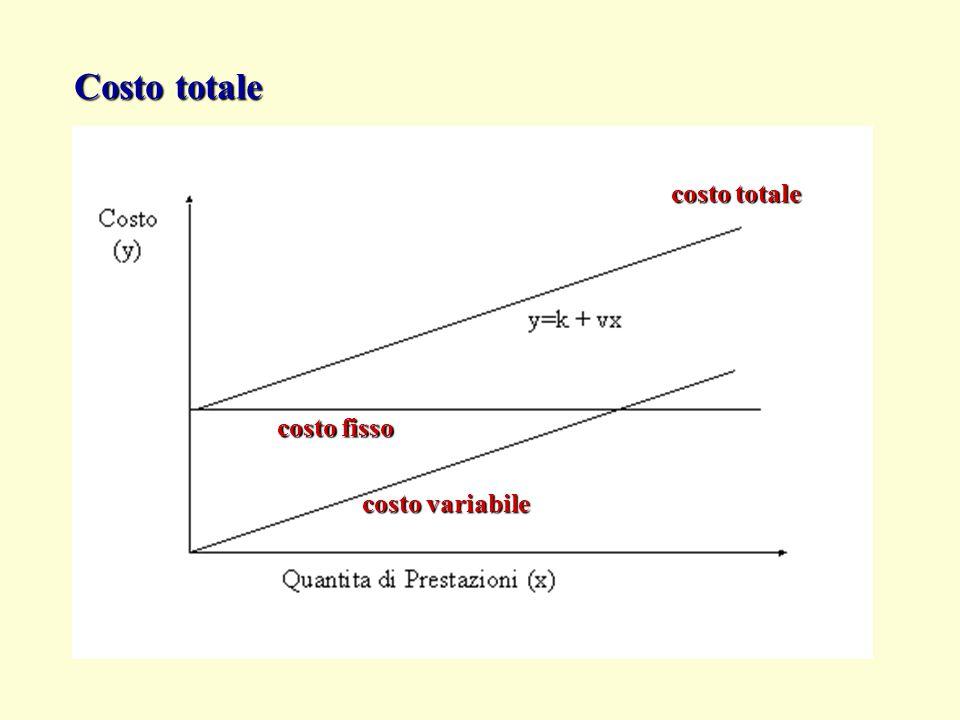 Costo totale costo totale costo fisso costo variabile