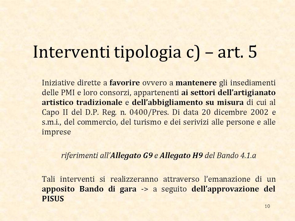 Interventi tipologia c) – art.