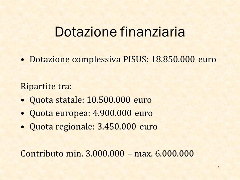 Dotazione finanziaria Dotazione complessiva PISUS: 18.850.000 euro Ripartite tra: Quota statale: 10.500.000 euro Quota europea: 4.900.000 euro Quota regionale: 3.450.000 euro Contributo min.