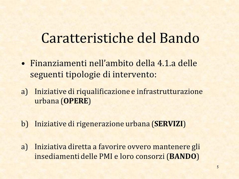 Caratteristiche del Bando Finanziamenti nell'ambito della 4.1.a delle seguenti tipologie di intervento: a)Iniziative di riqualificazione e infrastrutturazione urbana (OPERE) b)Iniziative di rigenerazione urbana (SERVIZI) a)Iniziativa diretta a favorire ovvero mantenere gli insediamenti delle PMI e loro consorzi (BANDO) 5