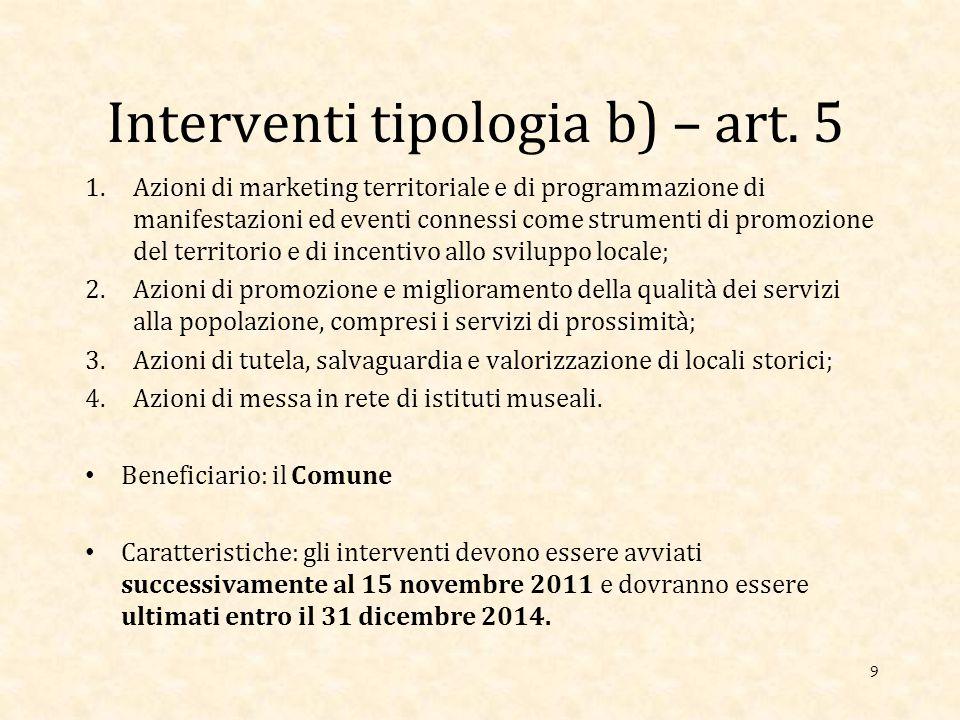 Interventi tipologia b) – art.