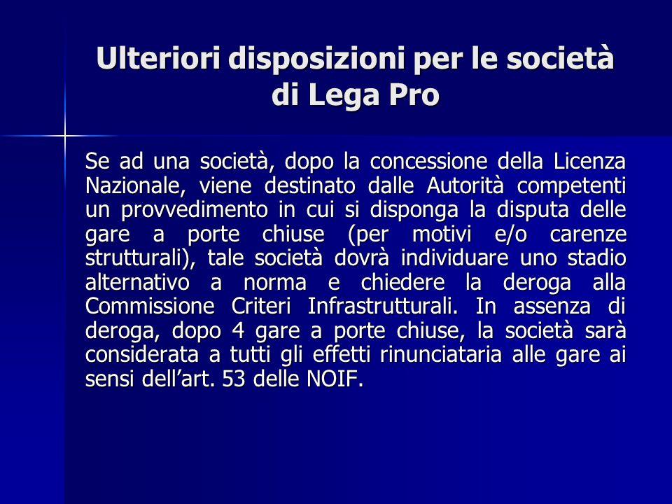 IL COMUNICATO UFFICIALE N.146/A PRINCIPALI NOVITA' Termine per il deposito: 20 giugno 2012 Venir meno di uno dei requisiti di tipo A , della licenza ex art.