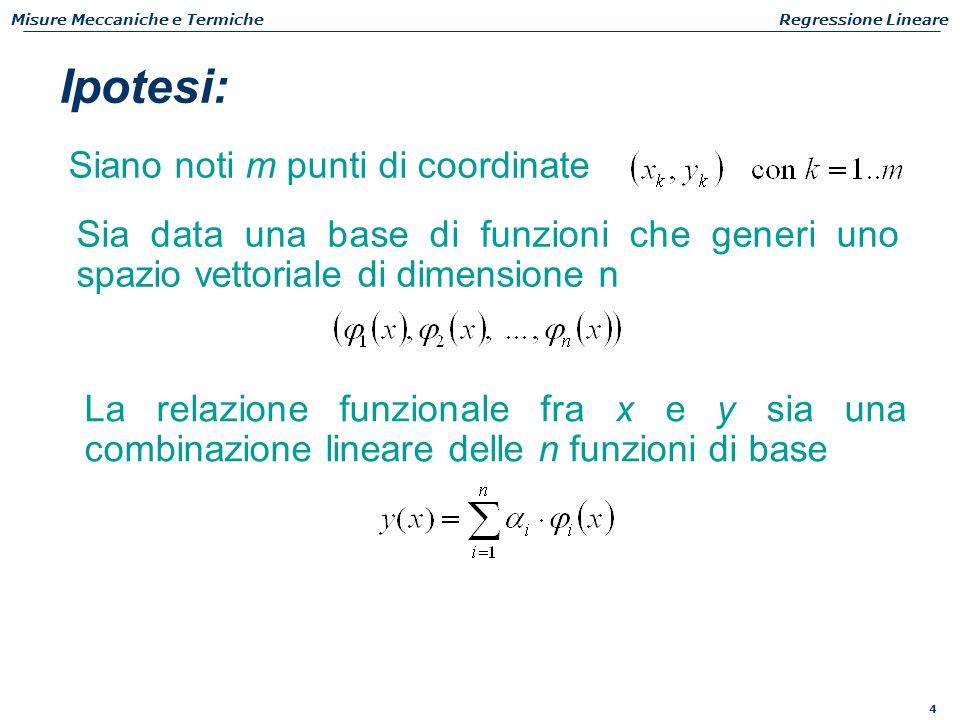 4 Misure Meccaniche e TermicheRegressione Lineare Siano noti m punti di coordinate Ipotesi: Sia data una base di funzioni che generi uno spazio vettor