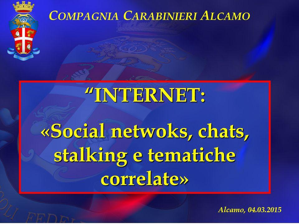 """Alcamo, 04.03.2015 """"INTERNET: «Social netwoks, chats, stalking e tematiche correlate» C OMPAGNIA C ARABINIERI A LCAMO"""