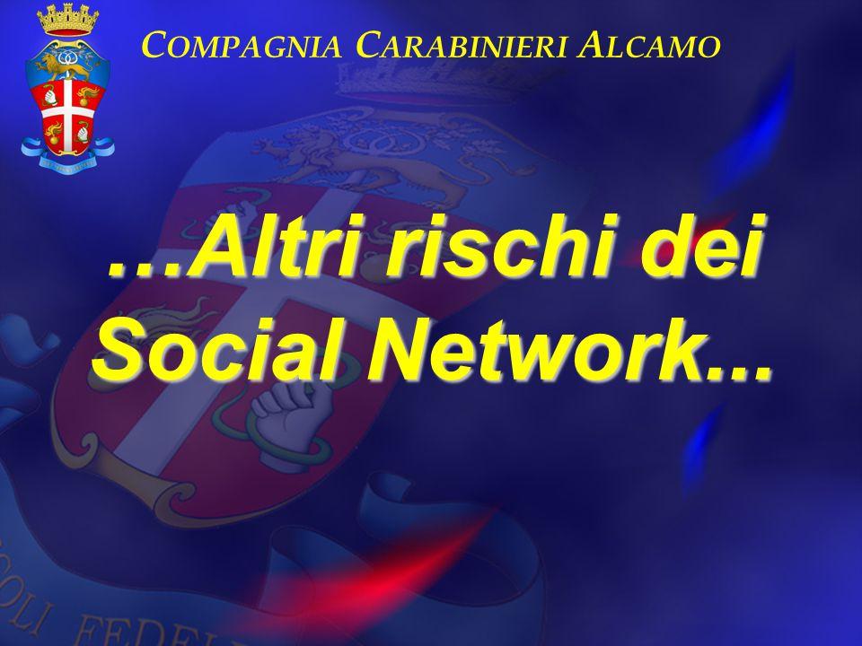 …Altri rischi dei Social Network... C OMPAGNIA C ARABINIERI A LCAMO