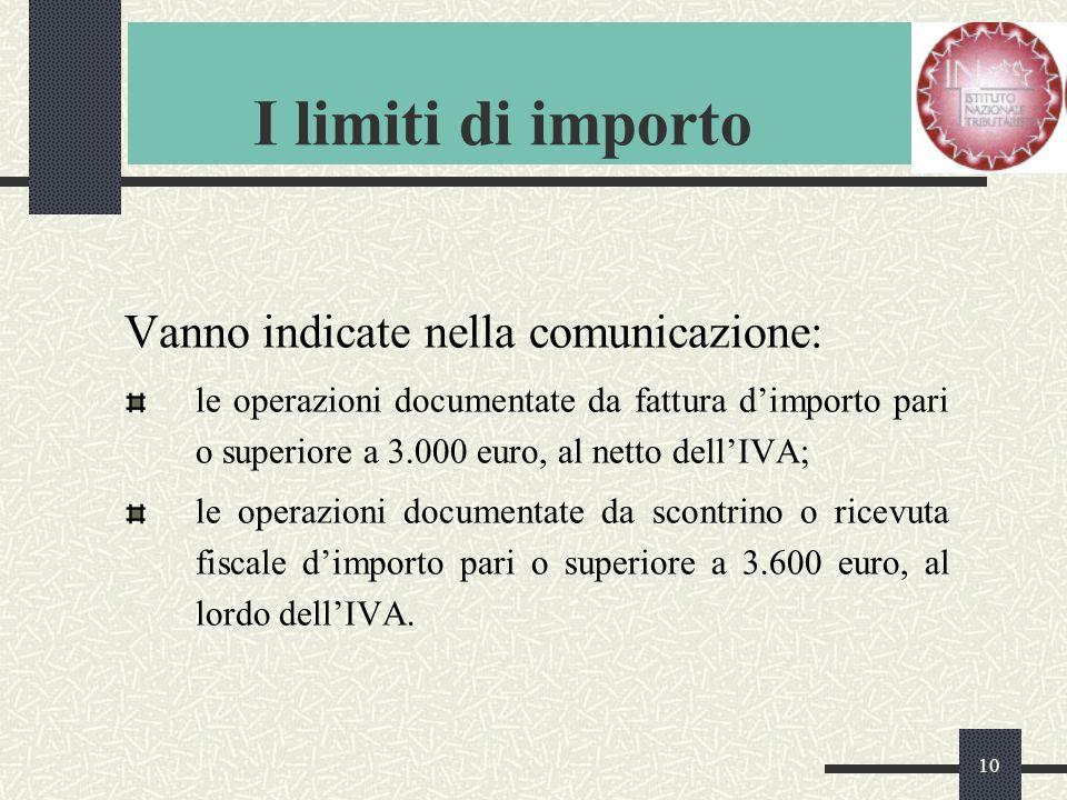 10 I limiti di importo Vanno indicate nella comunicazione: le operazioni documentate da fattura d'importo pari o superiore a 3.000 euro, al netto dell'IVA; le operazioni documentate da scontrino o ricevuta fiscale d'importo pari o superiore a 3.600 euro, al lordo dell'IVA.