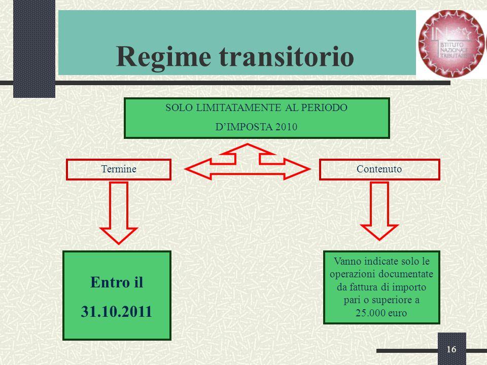 16 Regime transitorio SOLO LIMITATAMENTE AL PERIODO D'IMPOSTA 2010 TermineContenuto Entro il 31.10.2011 Vanno indicate solo le operazioni documentate da fattura di importo pari o superiore a 25.000 euro