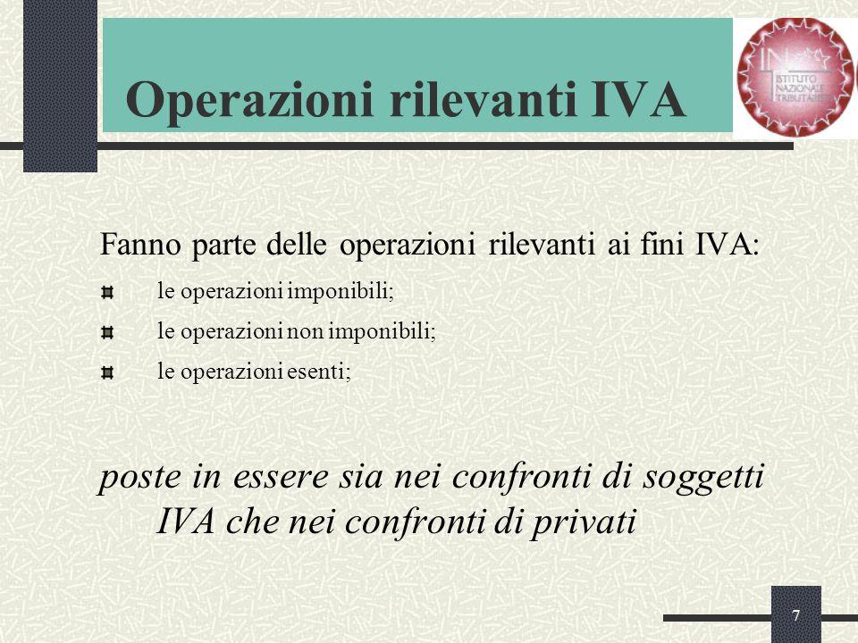 7 Operazioni rilevanti IVA Fanno parte delle operazioni rilevanti ai fini IVA: le operazioni imponibili; le operazioni non imponibili; le operazioni esenti; poste in essere sia nei confronti di soggetti IVA che nei confronti di privati