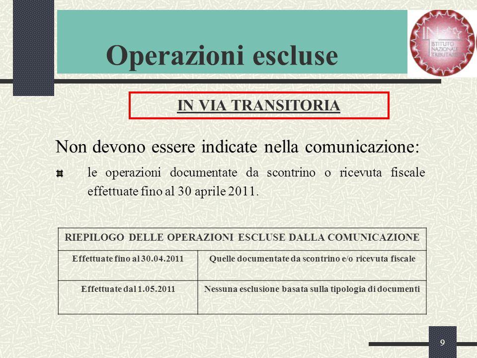 9 Operazioni escluse Non devono essere indicate nella comunicazione: le operazioni documentate da scontrino o ricevuta fiscale effettuate fino al 30 aprile 2011.