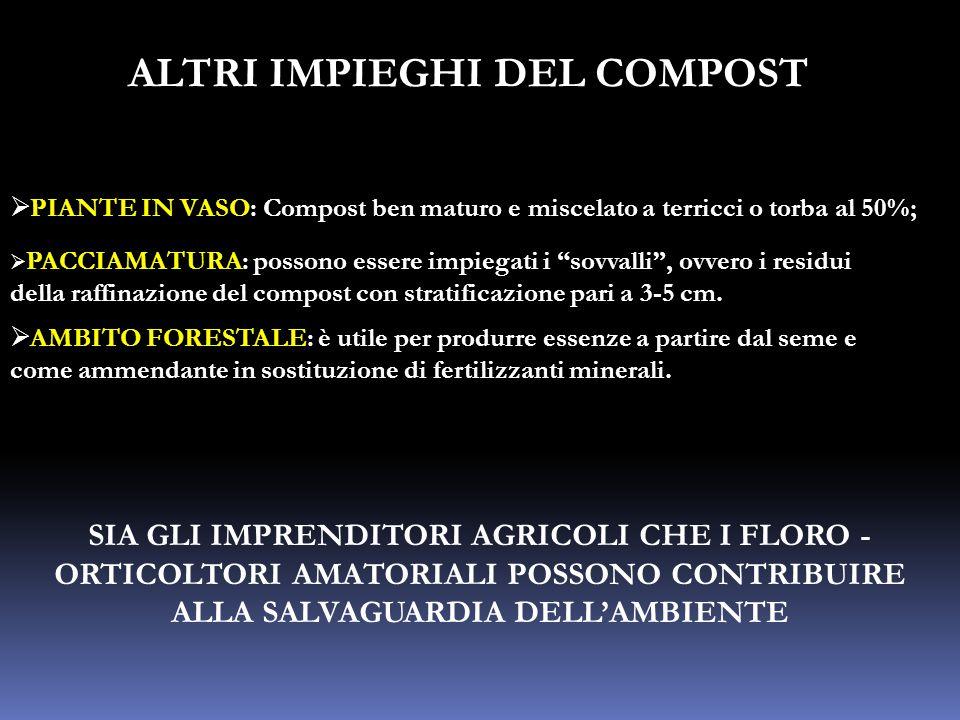 """ALTRI IMPIEGHI DEL COMPOST  PIANTE IN VASO: Compost ben maturo e miscelato a terricci o torba al 50%;  PACCIAMATURA: possono essere impiegati i """"sov"""