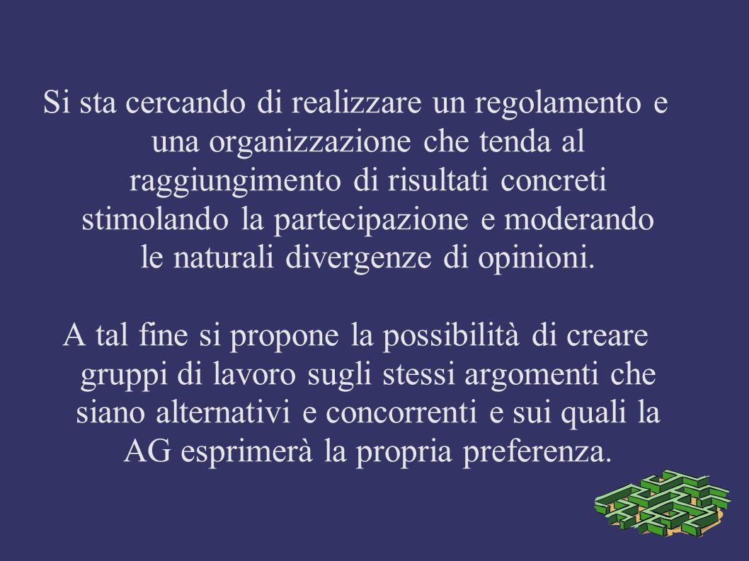 Si sta cercando di realizzare un regolamento e una organizzazione che tenda al raggiungimento di risultati concreti stimolando la partecipazione e moderando le naturali divergenze di opinioni.