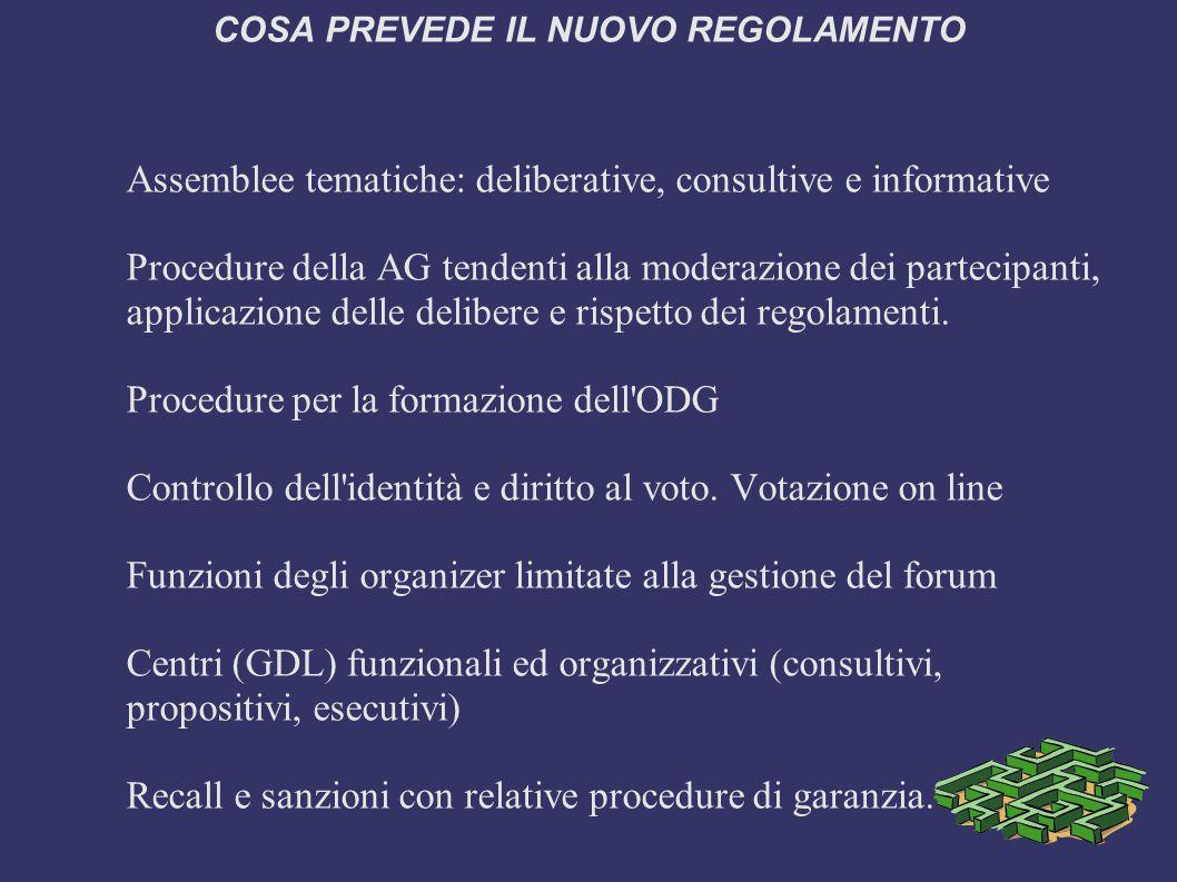 COSA PREVEDE IL NUOVO REGOLAMENTO Assemblee tematiche: deliberative, consultive e informative Procedure della AG tendenti alla moderazione dei partecipanti, applicazione delle delibere e rispetto dei regolamenti.