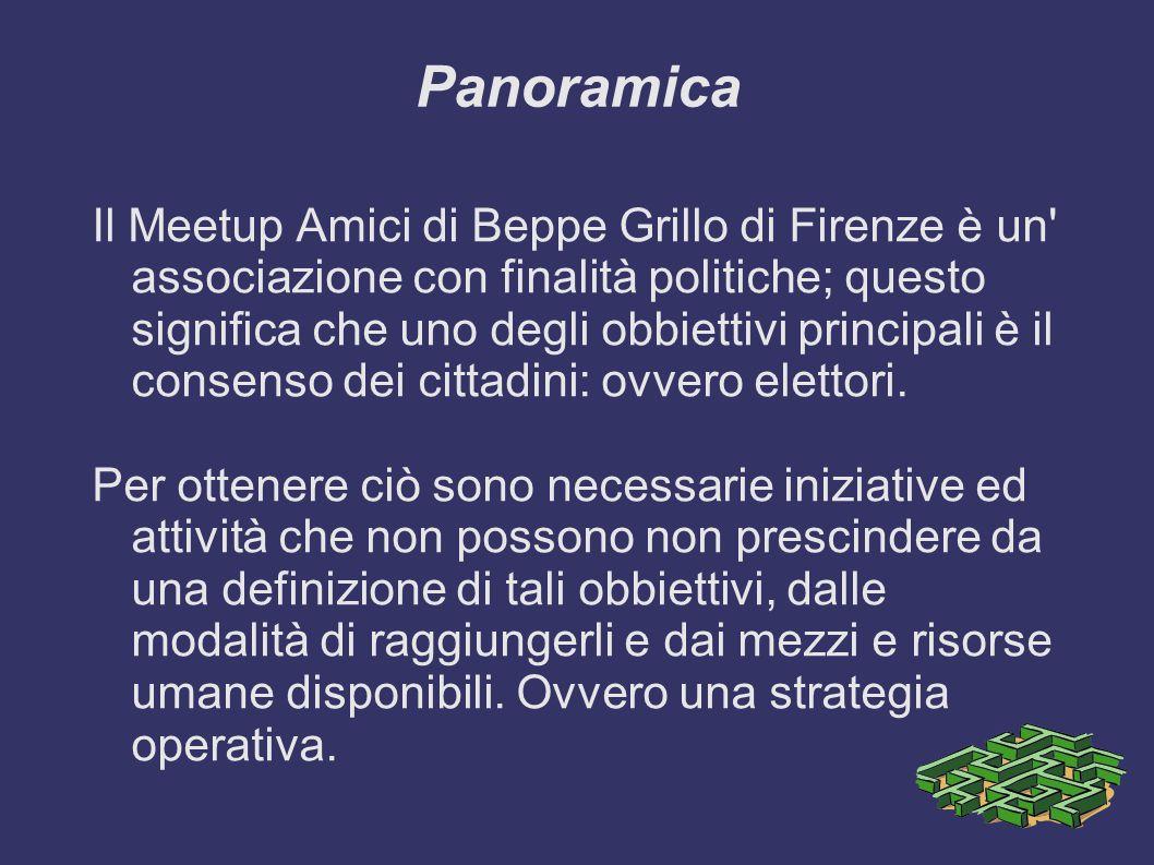 Panoramica Il Meetup Amici di Beppe Grillo di Firenze è un associazione con finalità politiche; questo significa che uno degli obbiettivi principali è il consenso dei cittadini: ovvero elettori.