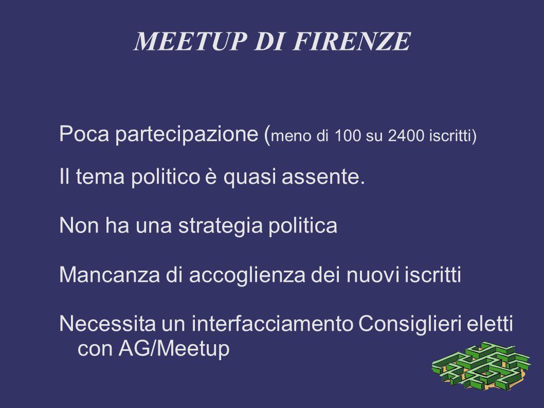 MEETUP DI FIRENZE Poca partecipazione ( meno di 100 su 2400 iscritti) Il tema politico è quasi assente.
