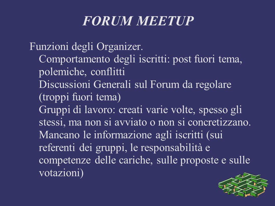 FORUM MEETUP Funzioni degli Organizer.