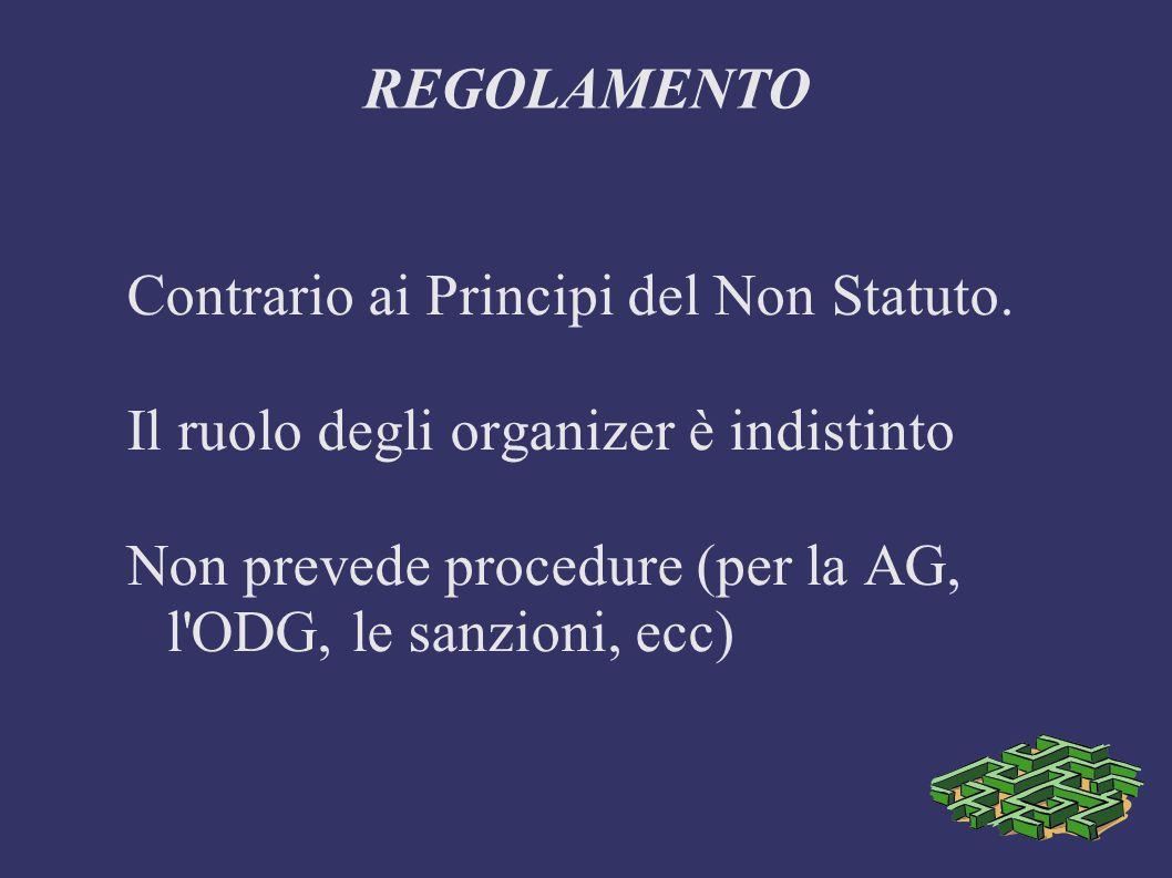 REGOLAMENTO Contrario ai Principi del Non Statuto.