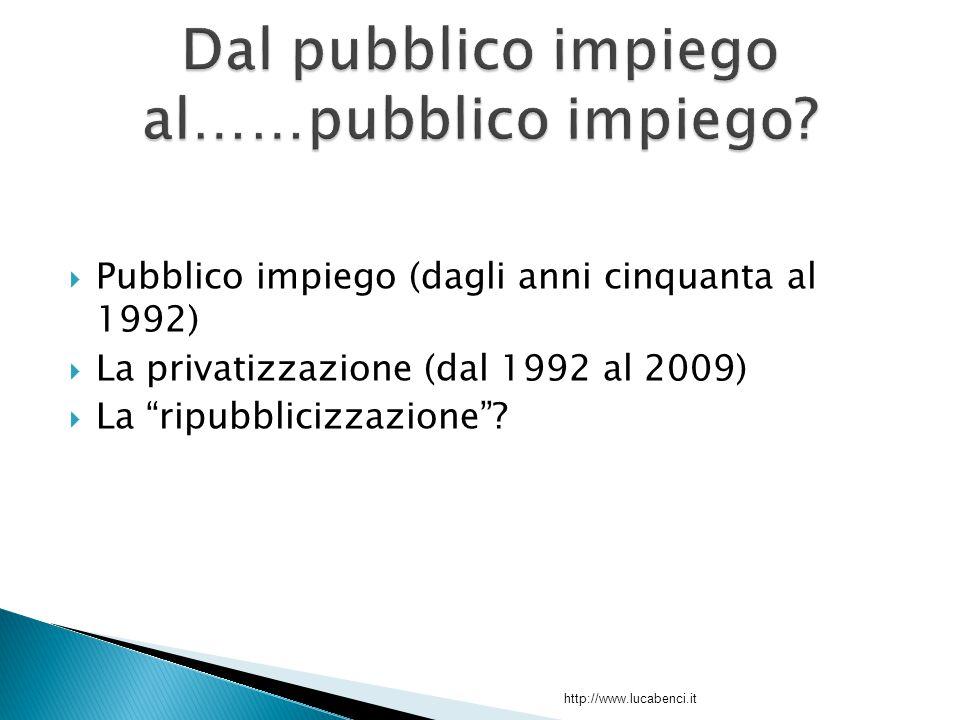  Pubblico impiego (dagli anni cinquanta al 1992)  La privatizzazione (dal 1992 al 2009)  La ripubblicizzazione .