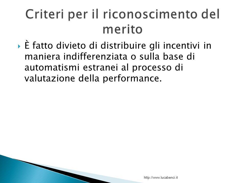  È fatto divieto di distribuire gli incentivi in maniera indifferenziata o sulla base di automatismi estranei al processo di valutazione della performance.