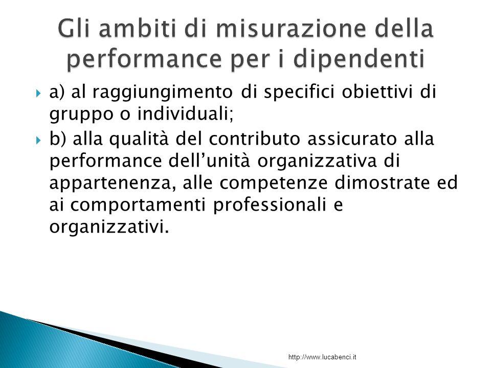  a) al raggiungimento di specifici obiettivi di gruppo o individuali;  b) alla qualità del contributo assicurato alla performance dell'unità organizzativa di appartenenza, alle competenze dimostrate ed ai comportamenti professionali e organizzativi.
