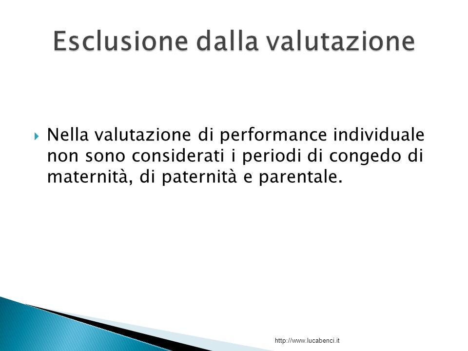  Nella valutazione di performance individuale non sono considerati i periodi di congedo di maternità, di paternità e parentale.