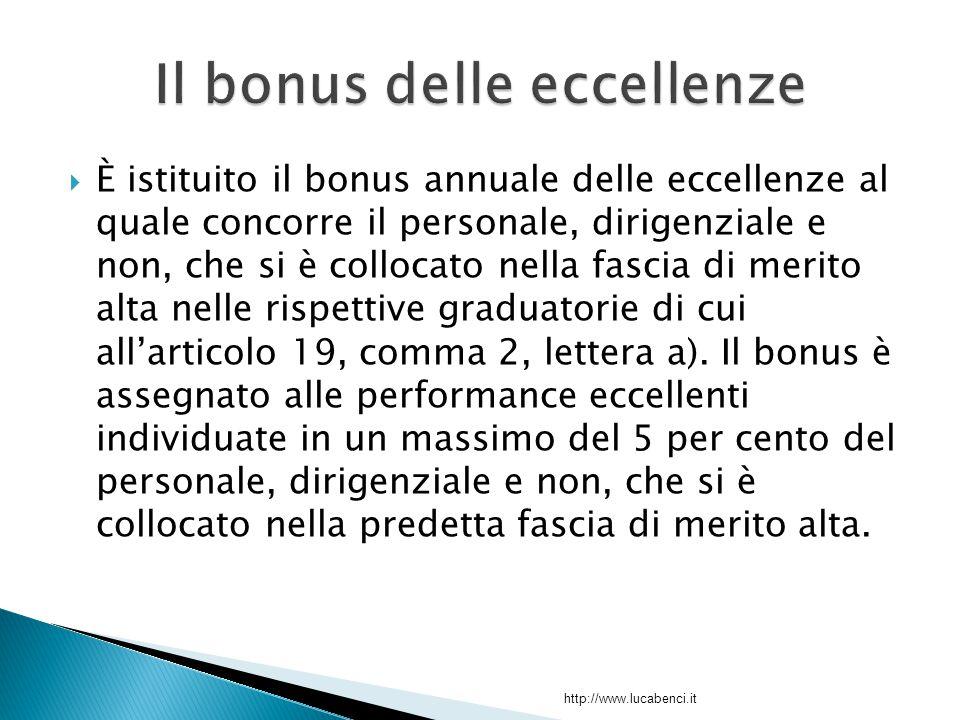 È istituito il bonus annuale delle eccellenze al quale concorre il personale, dirigenziale e non, che si è collocato nella fascia di merito alta nelle rispettive graduatorie di cui all'articolo 19, comma 2, lettera a).