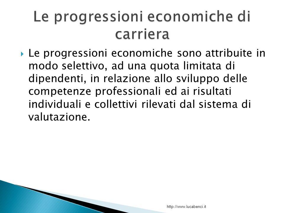  Le progressioni economiche sono attribuite in modo selettivo, ad una quota limitata di dipendenti, in relazione allo sviluppo delle competenze professionali ed ai risultati individuali e collettivi rilevati dal sistema di valutazione.
