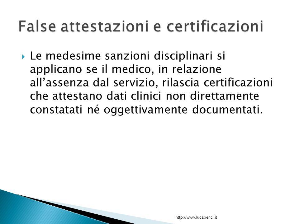  Le medesime sanzioni disciplinari si applicano se il medico, in relazione all'assenza dal servizio, rilascia certificazioni che attestano dati clinici non direttamente constatati né oggettivamente documentati.