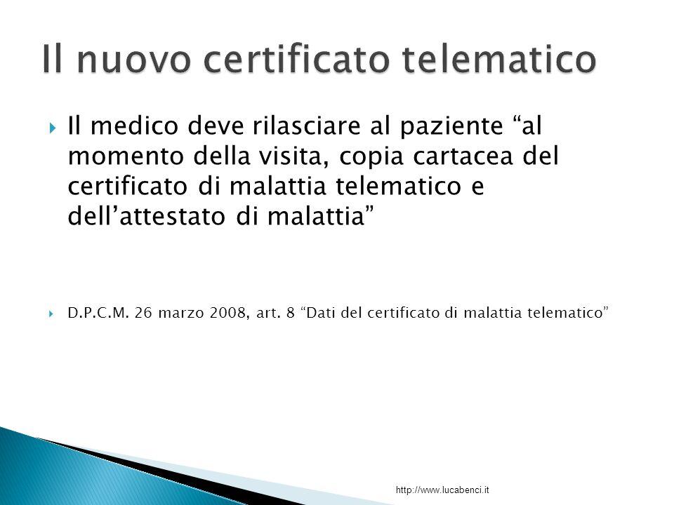  Il medico deve rilasciare al paziente al momento della visita, copia cartacea del certificato di malattia telematico e dell'attestato di malattia  D.P.C.M.