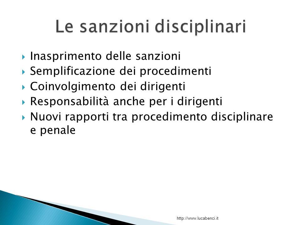  Inasprimento delle sanzioni  Semplificazione dei procedimenti  Coinvolgimento dei dirigenti  Responsabilità anche per i dirigenti  Nuovi rapporti tra procedimento disciplinare e penale http://www.lucabenci.it