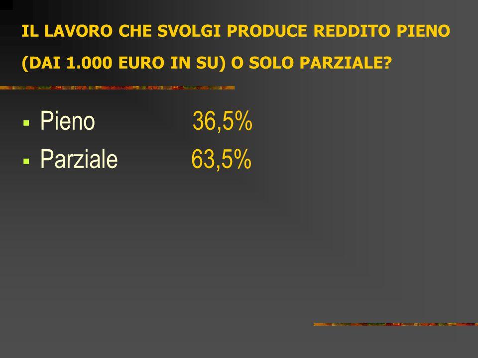 IL LAVORO CHE SVOLGI PRODUCE REDDITO PIENO (DAI 1.000 EURO IN SU) O SOLO PARZIALE?  Pieno 36,5%  Parziale 63,5%