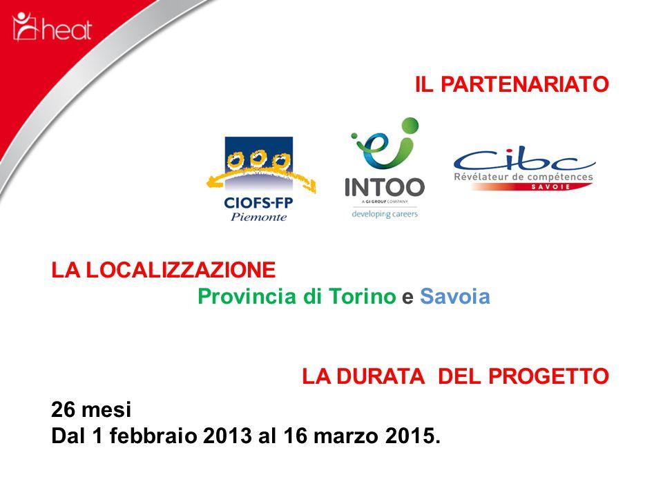 IL PARTENARIATO LA LOCALIZZAZIONE Provincia di Torino e Savoia LA DURATA DEL PROGETTO 26 mesi Dal 1 febbraio 2013 al 16 marzo 2015.
