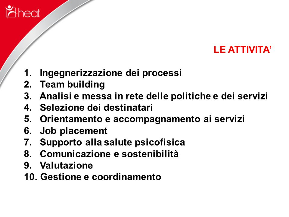 LE ATTIVITA' 1. Ingegnerizzazione dei processi 2.