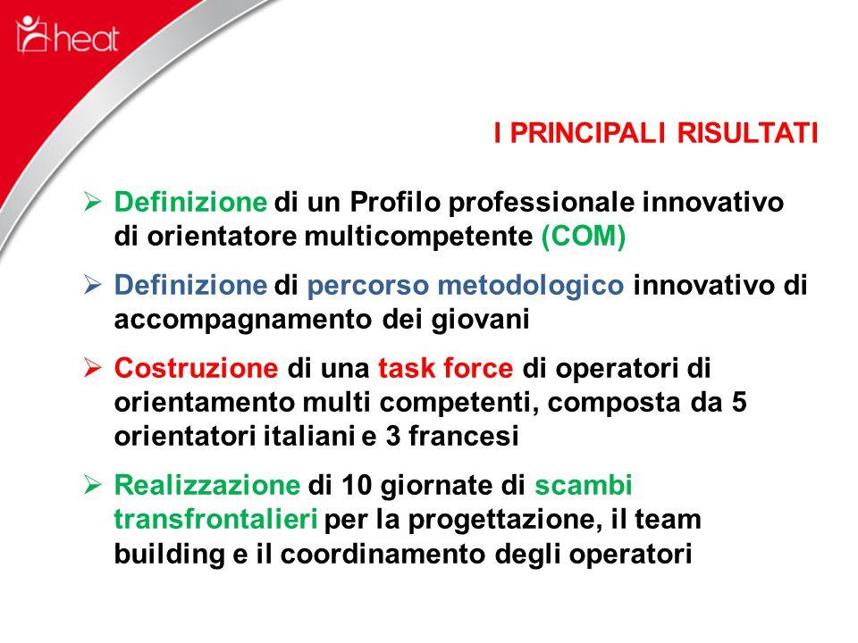 I PRINCIPALI RISULTATI  Definizione di un Profilo professionale innovativo di orientatore multicompetente (COM)  Definizione di percorso metodologico innovativo di accompagnamento dei giovani  Costruzione di una task force di operatori di orientamento multi competenti, composta da 5 orientatori italiani e 3 francesi  Realizzazione di 10 giornate di scambi transfrontalieri per la progettazione, il team building e il coordinamento degli operatori