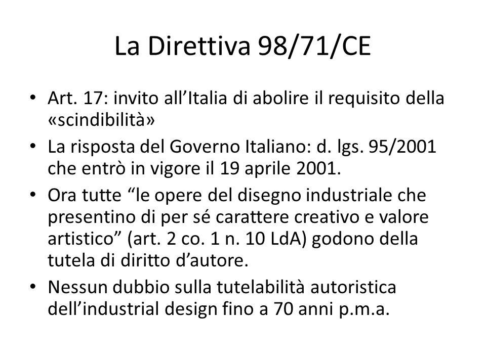 La Direttiva 98/71/CE Art. 17: invito all'Italia di abolire il requisito della «scindibilità» La risposta del Governo Italiano: d. lgs. 95/2001 che en