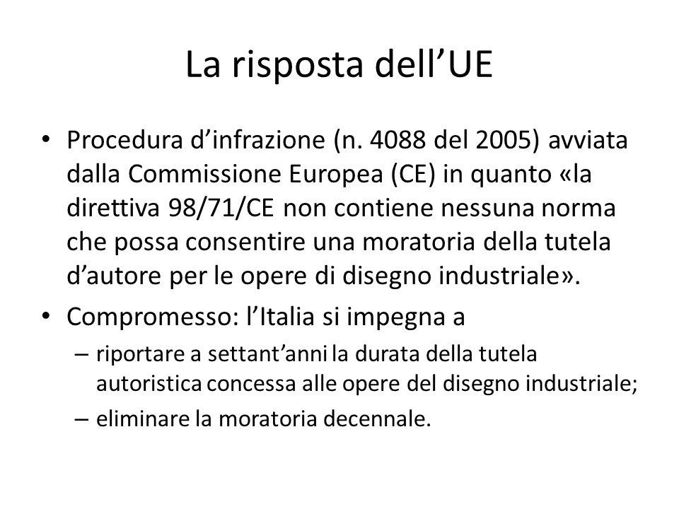 La risposta dell'UE Procedura d'infrazione (n. 4088 del 2005) avviata dalla Commissione Europea (CE) in quanto «la direttiva 98/71/CE non contiene nes