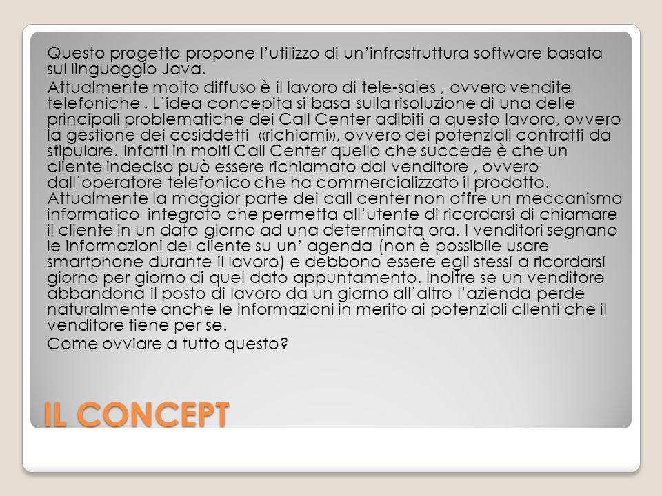 IL CONCEPT Questo progetto propone l'utilizzo di un'infrastruttura software basata sul linguaggio Java. Attualmente molto diffuso è il lavoro di tele-