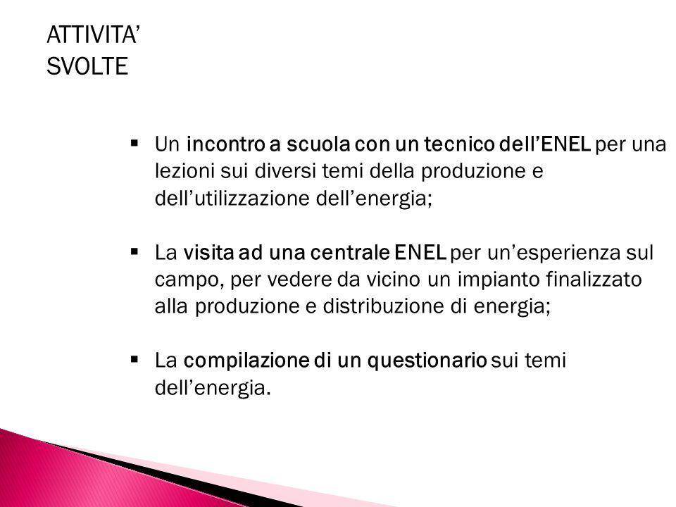  Un incontro a scuola con un tecnico dell'ENEL per una lezioni sui diversi temi della produzione e dell'utilizzazione dell'energia;  La visita ad un