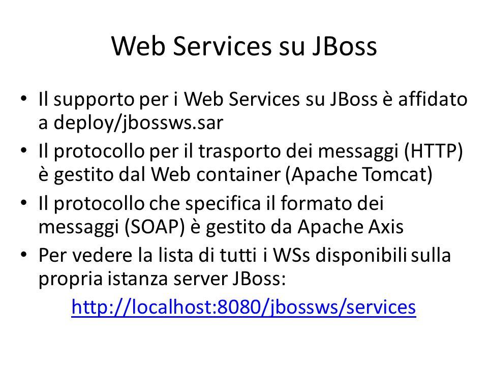 Web Services su JBoss Il supporto per i Web Services su JBoss è affidato a deploy/jbossws.sar Il protocollo per il trasporto dei messaggi (HTTP) è ges