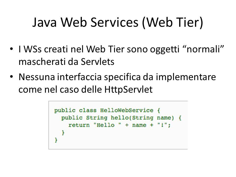 """Java Web Services (Web Tier) I WSs creati nel Web Tier sono oggetti """"normali"""" mascherati da Servlets Nessuna interfaccia specifica da implementare com"""