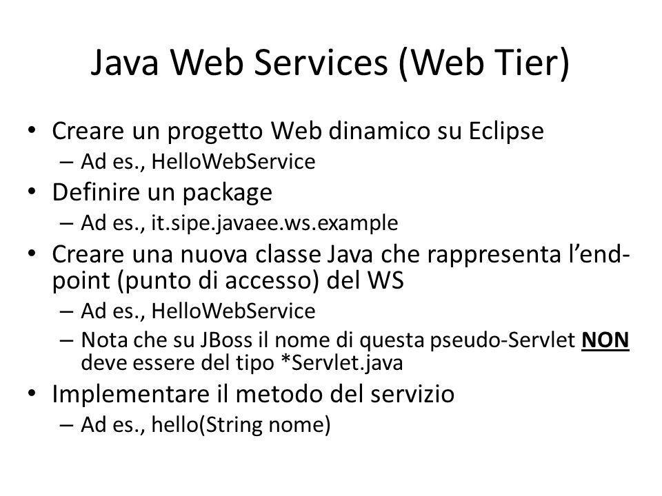 Java Web Services (Web Tier) Creare un progetto Web dinamico su Eclipse – Ad es., HelloWebService Definire un package – Ad es., it.sipe.javaee.ws.exam