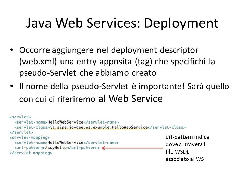Java Web Services: Deployment Occorre aggiungere nel deployment descriptor (web.xml) una entry apposita (tag) che specifichi la pseudo-Servlet che abb