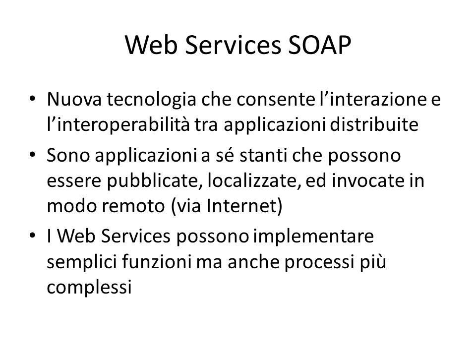 Web Services SOAP Nuova tecnologia che consente l'interazione e l'interoperabilità tra applicazioni distribuite Sono applicazioni a sé stanti che poss
