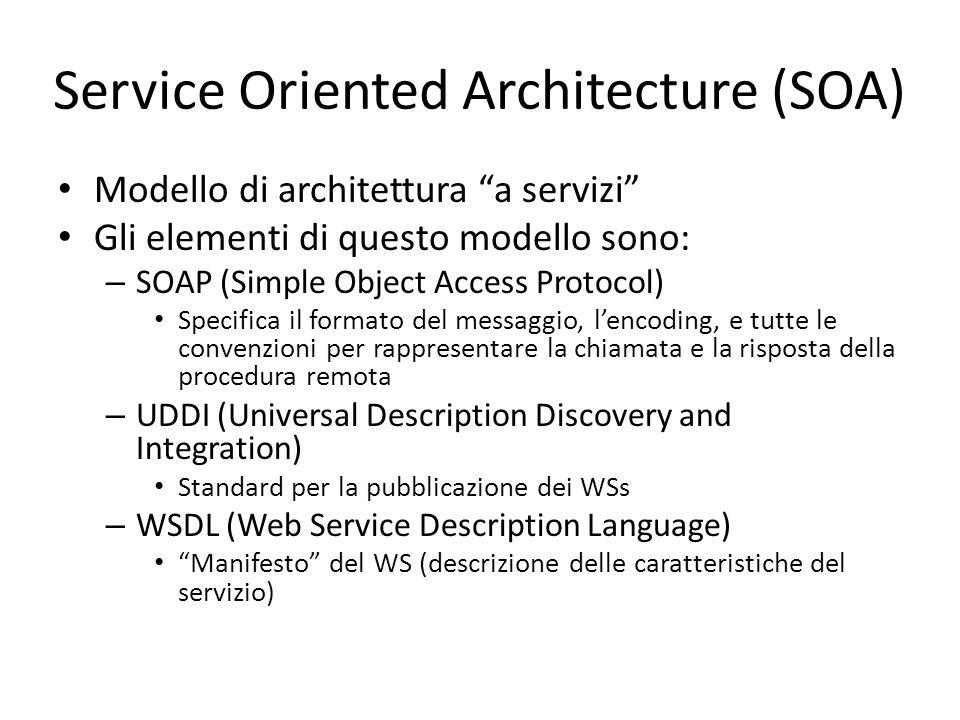 """Service Oriented Architecture (SOA) Modello di architettura """"a servizi"""" Gli elementi di questo modello sono: – SOAP (Simple Object Access Protocol) Sp"""