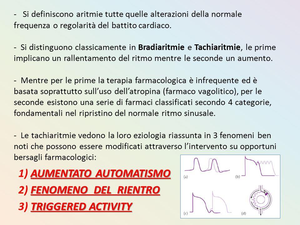 - Si definiscono aritmie tutte quelle alterazioni della normale frequenza o regolarità del battito cardiaco. - Si distinguono classicamente in Bradiar