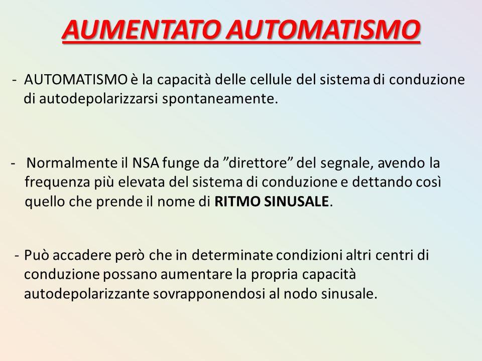 AUMENTATO AUTOMATISMO - AUTOMATISMO è la capacità delle cellule del sistema di conduzione di autodepolarizzarsi spontaneamente. - Normalmente il NSA f