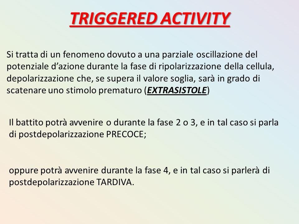 TRIGGERED ACTIVITY Si tratta di un fenomeno dovuto a una parziale oscillazione del potenziale d'azione durante la fase di ripolarizzazione della cellu