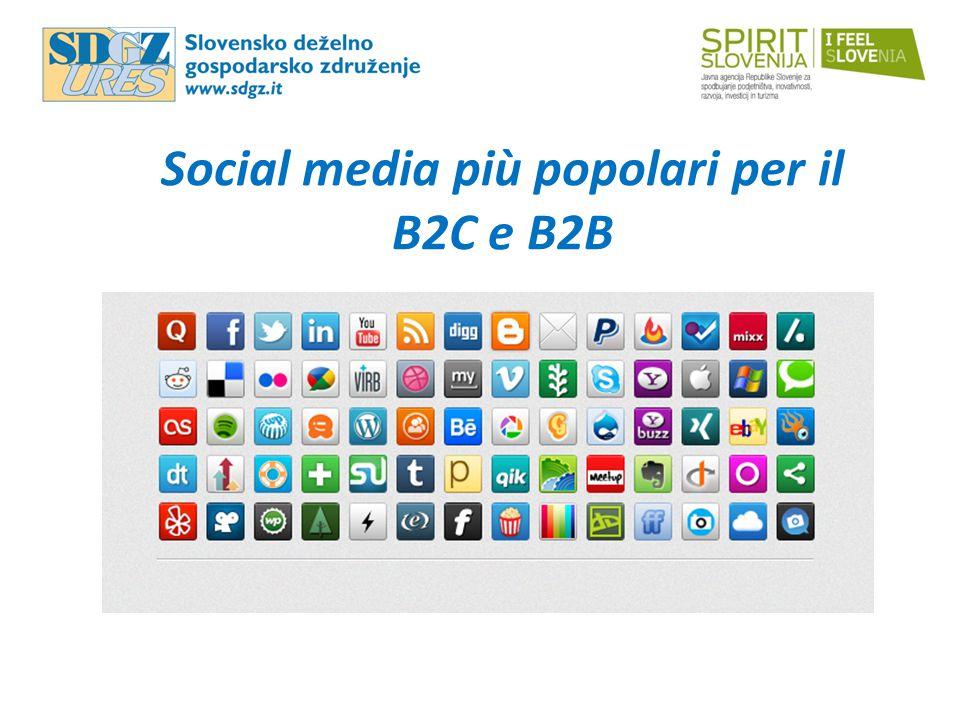 Social media più popolari per il B2C e B2B